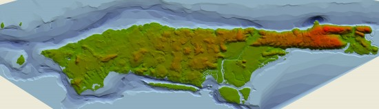 The Digital Elevation Model, or DEM, of 1609 Mannahatta was a vital achievement in the process of recreating Mannahatta. It took 5 years of map research, fieldwork, and GIS analysis to complete. © WCS